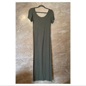 NOWT olive green high slit long top